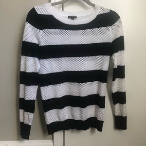 Express black and white perforated sweater